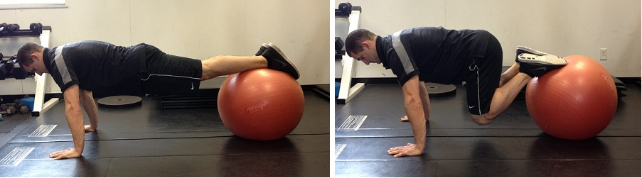 Stability Ball Knee tuck progression